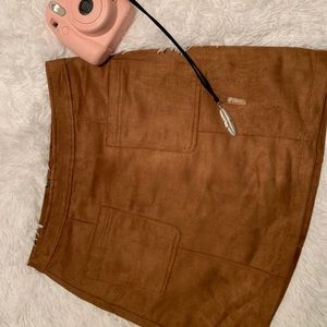 SUEDE RUSTED BROWN HIGH WAISTED SKIRT